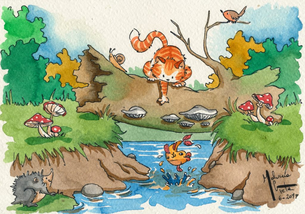 Il gattino e il pesce rosso